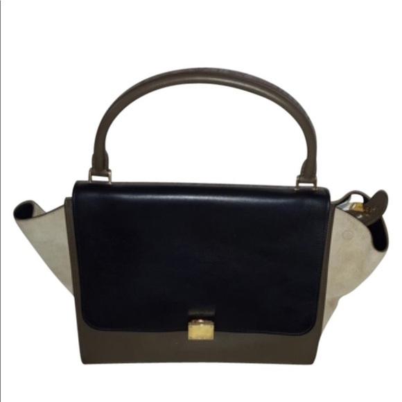 Celine Handbags - Celine Tricolor Trapeze Bag